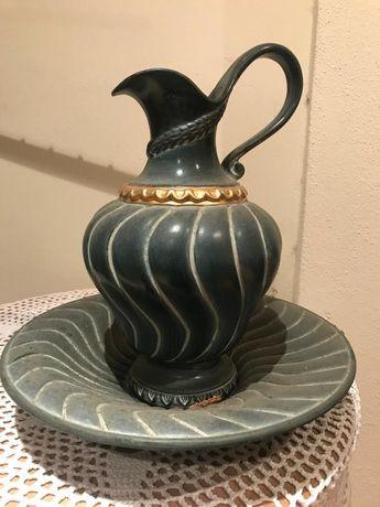 Jarro e bacia em cerâmica