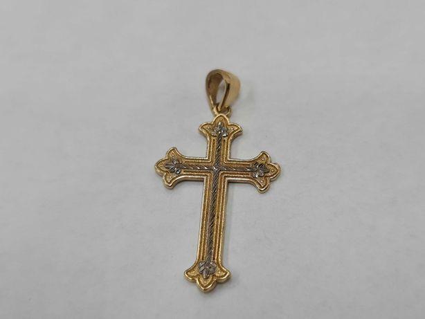 Ciekawy złoty krzyżyk męski / damski/ 585/ 1.36 gram