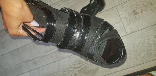 Buty szpilki skora zamsz całe czarne