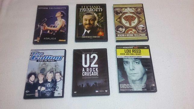 6 dvds de música (calcanhotto, pavarotti, u2, lou reed…)