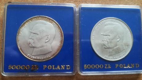 Moneta monety srebrna srebrne Józef Piłsudski 50000 ładna patyna 1988.