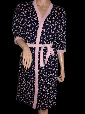 Nowy szlafrok ciążowy r XL bawełna wzór flamingi