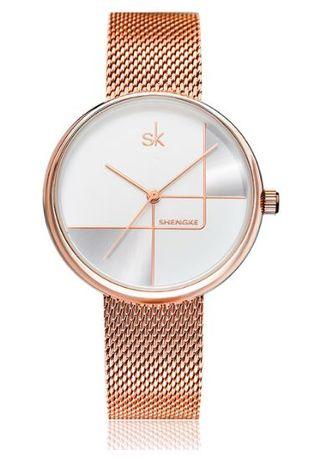 Shengke SK NOWY Złoty zegarek damski na bransolecie rosegold elegancki