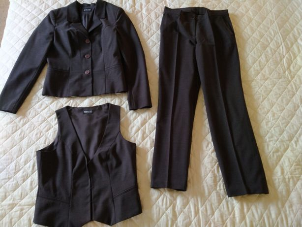 komplet BIALCON marynarka spodnie kamizelka spódnica gratis