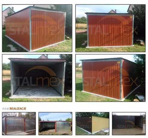 Garaż blaszany garaze blacha w kolorze , konstrukcja ocynk