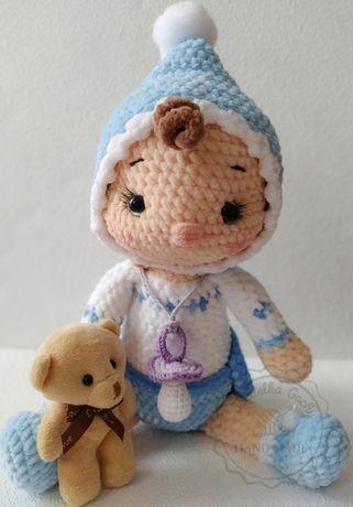 Bobas lalka dzidziuś maskotka zabawka niemowle amigurmi szydełko