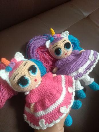 Кукла LOL, эко игрушка, вязаная куколка Лол единорожка, ручная работа