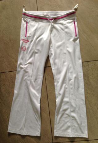 Spodnie dresowe biało różowe L