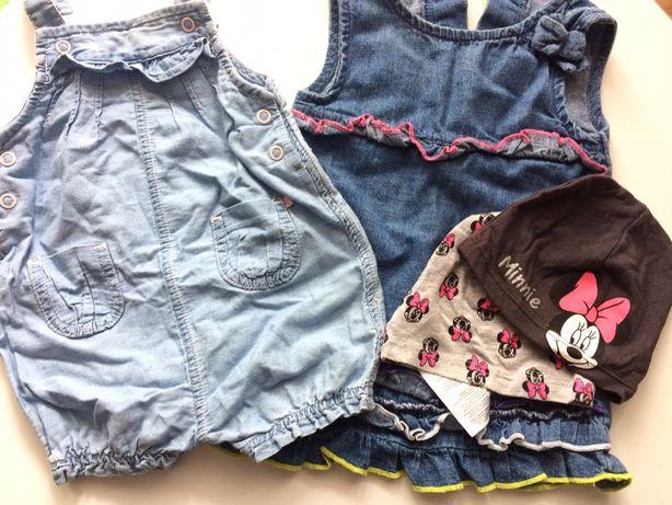 Zestaw spodenki sukienka jeans czapeczki Myszka Miki 56