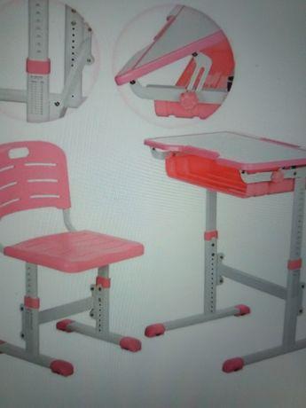 Парта детская школьный письменный стол Растишка нов с подставкой