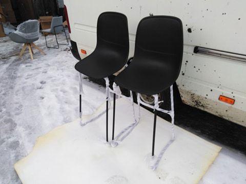 Hoker / krzesło barowe / czarne metalowe nogi / 2 sztuki NOWE