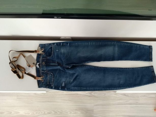 Nowe spodnie jeansowe ZARA dla chłopca r. 152 z szelkami