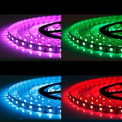Влагозащищенная, RGB 5050, светодиодная лента 5 метров