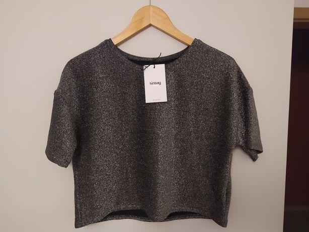 Nowy crop top bluzka Sinsay metaliczny S M