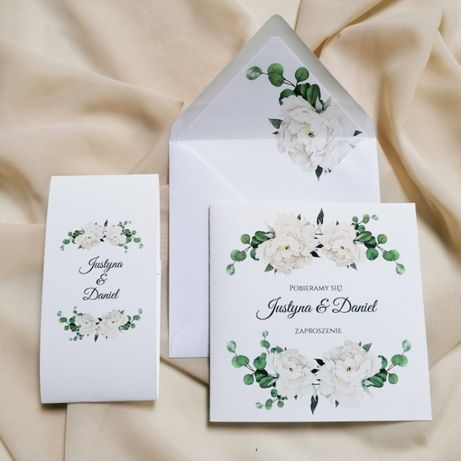 Zaproszenia ślubne z białą piwonią