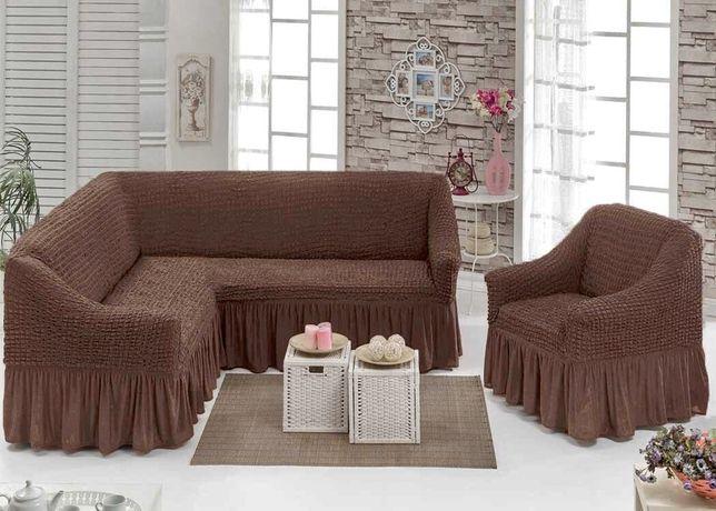 Чехол универсальный на угловой диван+кресло Турция! Чохол на крісло