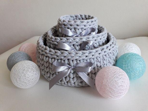 Koszyki okrągłe ze sznurka bawełnianego - komplet 3 sztuk