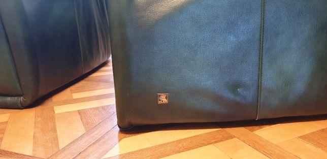 Skórzany narożnik oraz dwa fotele marki Kler