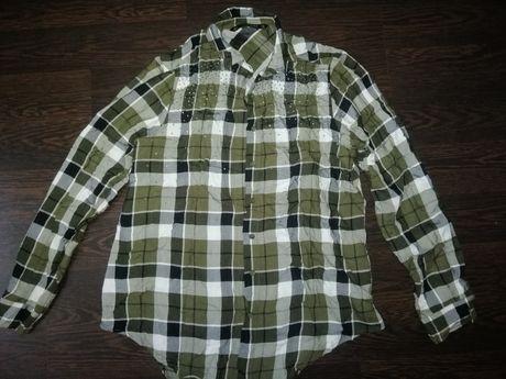 Рубашка zara, рубашка в клетку, блузка zara со стразами