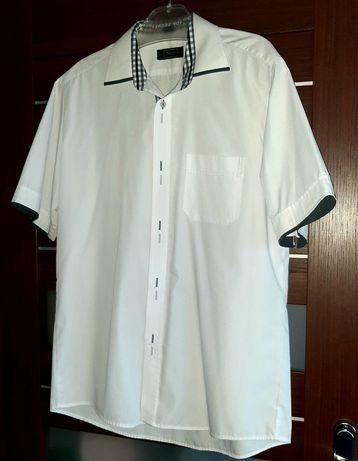 Biała męska  koszula z krótkim rękawem rozmiar M kołnierzyk 39