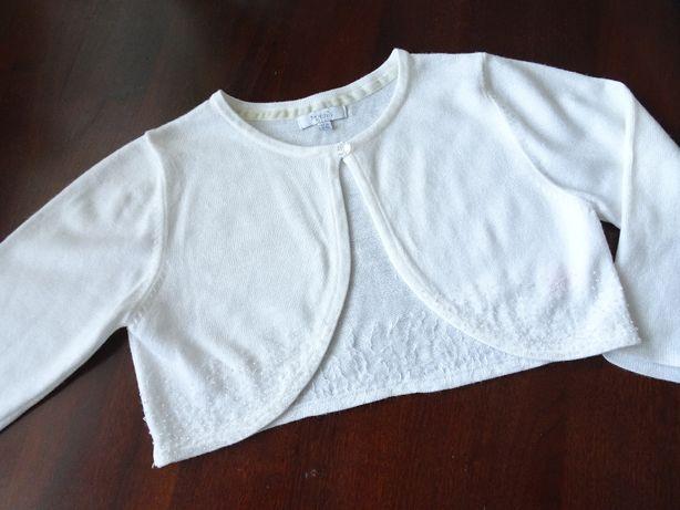 NEXT Bolerko sweterek białe kremowe wyszywane wesele 134/140