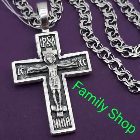 КОМПЛЕКТ серебряный крестик 35003 подвес + цепочка Серебро крест