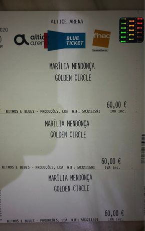 Vendo 3 bilhetes para concerto Marilia Mendonça- 29 de Novembro Lisboa