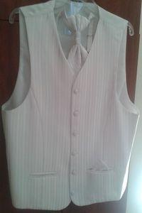 Kamizelka męska ślubna biała ecru L / XL + krawat