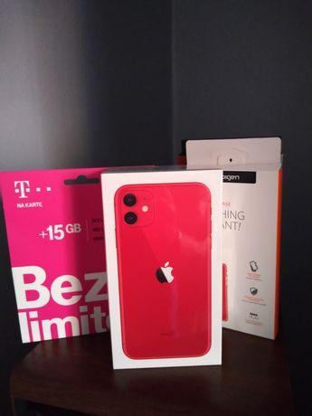 iPhone 11 64 GB Red plus etui szkło hartowane i starter