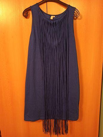 Sukienka elegancka, kolor chabrowy, ciemny niebieski, kobaltowy. 40/42