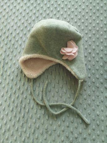 Czapka 48, Cool Club rozmiar ok 98, szara z różowym kwiatkiem