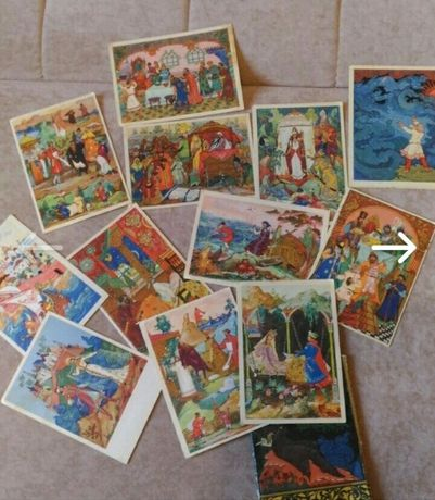 Набор открыток сказки Пушкина, 1965г, 12штук винтаж рэтро