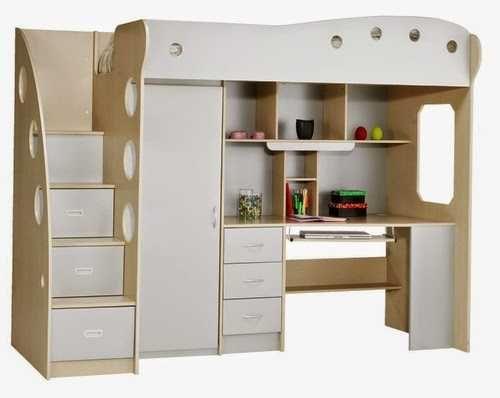 -45 % JYSK Uldum Nico 90x200 łóżko piętrowe biurko szafa szary/buk