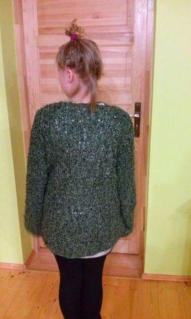 NIEPOWTARZALNY robiony na drutach sweter 34XS 36 S rękodzieło oversize