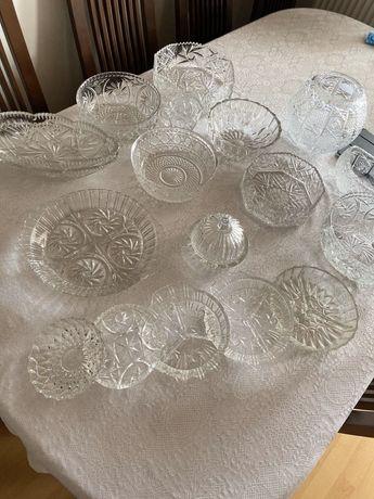 Kryształy 17 sztuk PRL misa bomboniera