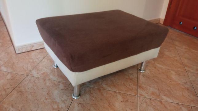 Pufa siedzisko biało brązowa 79x57x39