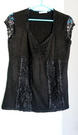 Czarna bluzka ORSAY L 40 z koronką imitacja gorsetu