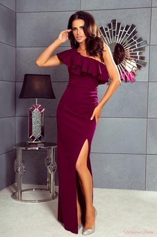 Sukienka na jedno ramię burgund stan idealny na wesele falbana 36 S