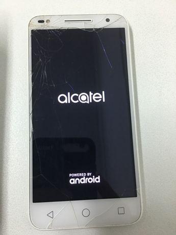 alcatel u5 hd 5047D com visor partido, caixa e acessórios da foto