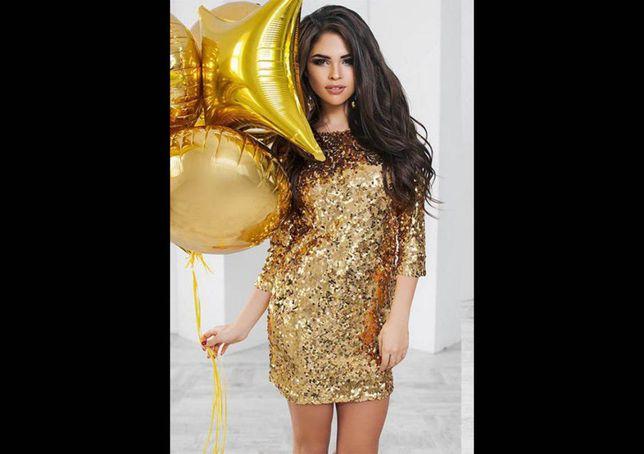 Вечернее платье мини пайетки модное короткое молодежное паетки новое