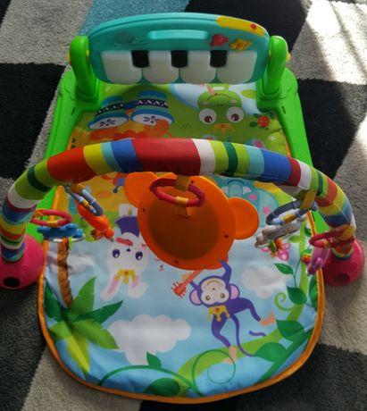 Mata edukacyjna, kojec, kocyk dla niemowląt 3w1 Piano Fitness Rack