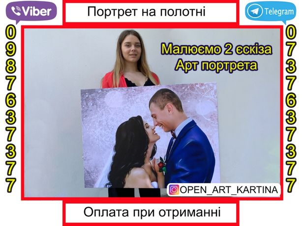 Портрет(картина)свадебная на подарок.Фото холст на подрамнике.Арт