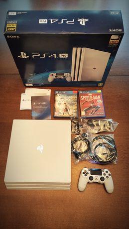 Konsola PS4 PRO 1TB biała + Spiderman+ AC: Odyssey+ nowe okablowanie