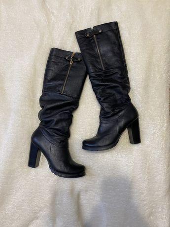 Зимние сапоги на каблуке, кожаные, зимние