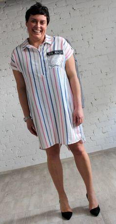 Świetna sukienka w paseczki r.46 Nowa troczek z tyłu PIĘKNA