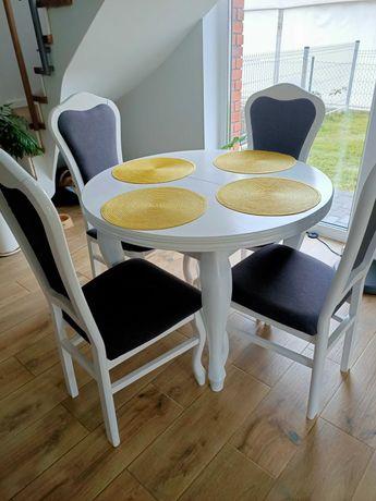 Stół okrągły plus 4 krzesła biały, szary