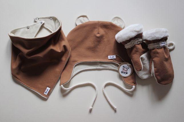 Komplet zimowy wiązana czapka chusta rękawiczki bawełna welur handmade