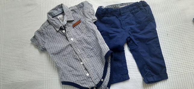 Dwa komplety cool club 68 dla blizniaków koszula i spodnie