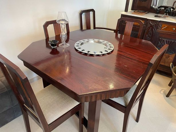 Mesa de sala de jantar Art Noveau extensível e 6 cadeiras