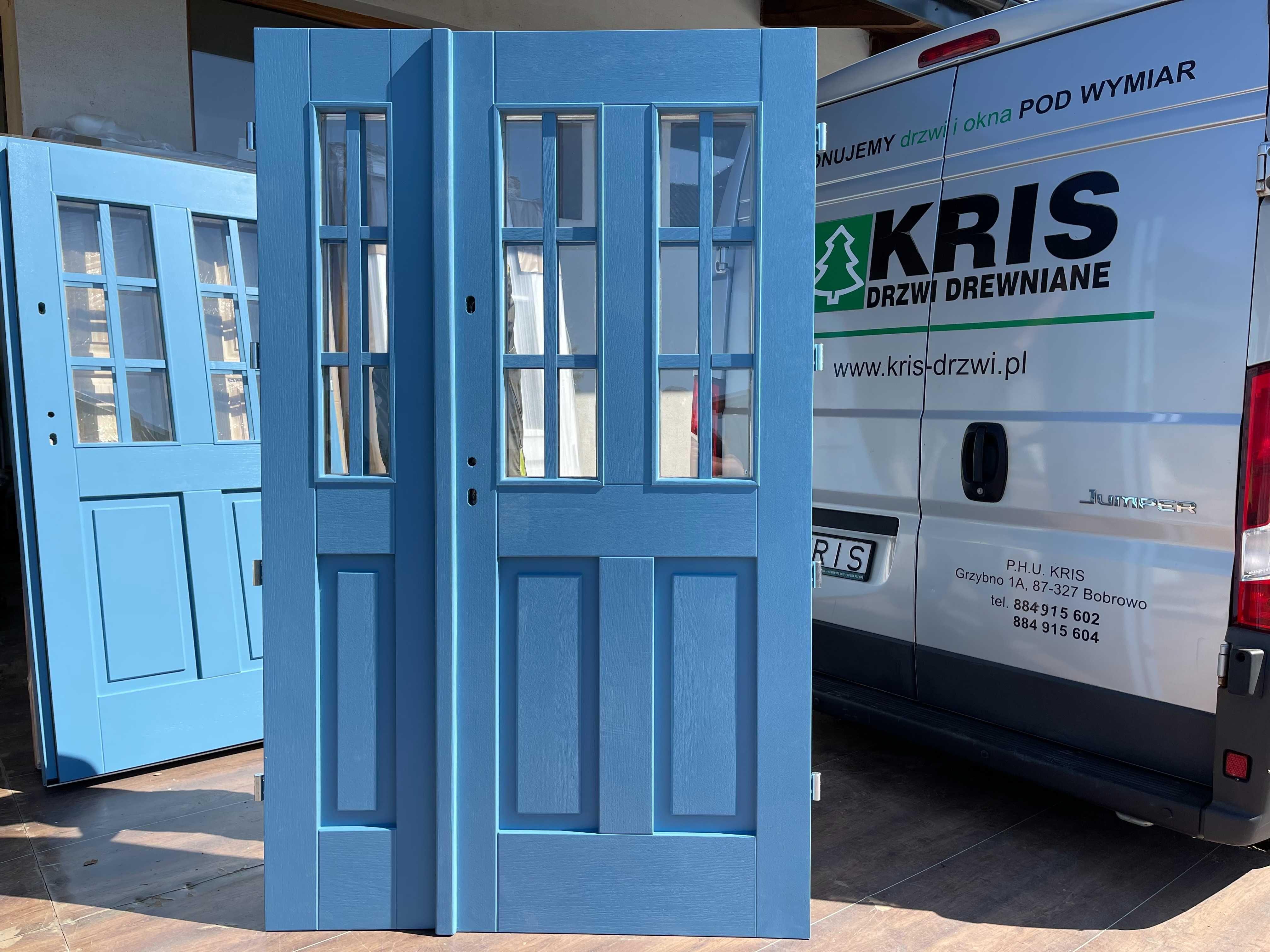 Drzwi zewnętrzne drewniane ocieplane niebieskie CAŁA POLSKA